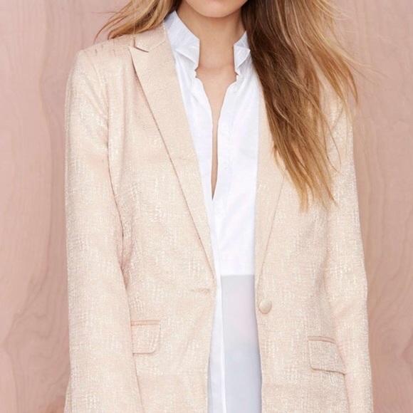 Nasty Gal Jackets & Blazers - Nasty Gal Blush Metallic Blazer Jacket